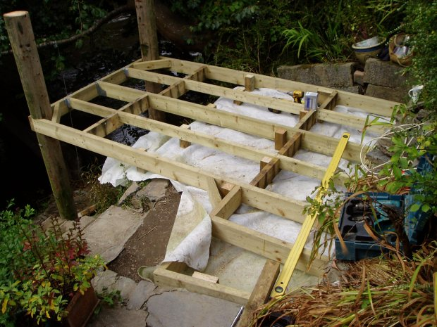 Building a beech deck, Carmarthenshire 3