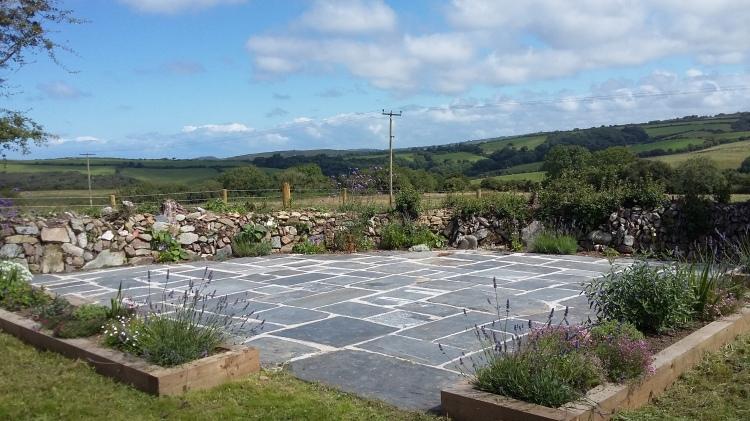Country farmhouse patio in Ceredigion